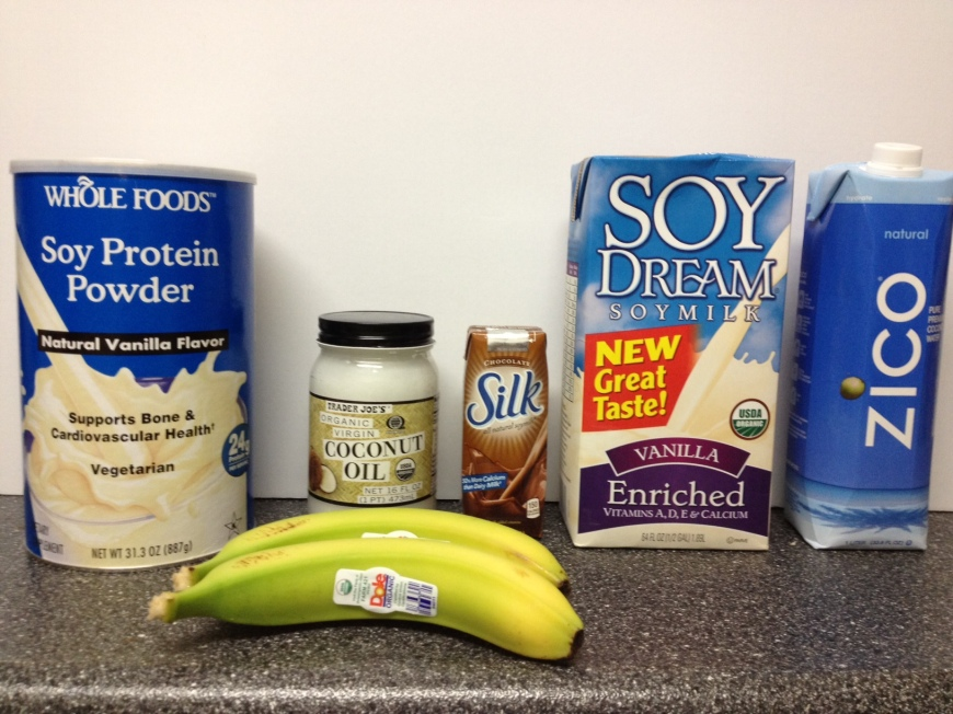 Ingredients for Soy Chocolate Banana Protein Smoothie via https://itsjoulife.com/2013/03/07/recipe-chocolate-banana-soy-protein-smoothie/
