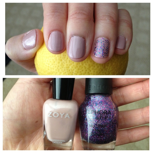 nude nails w/ sparkle pop ! via https://itsjoulife.wordpress.com/2013/03/27/nude-nails/