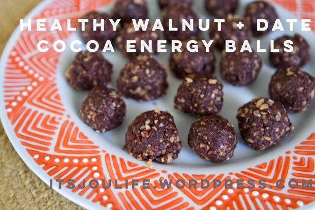 Healthy Walnut + Date Cocoa Energy Balls via Its Jou Life Blog // https://itsjoulife.wordpress.com/2015/11/23/recipe-walnut-and-date-cocoa-energy-balls